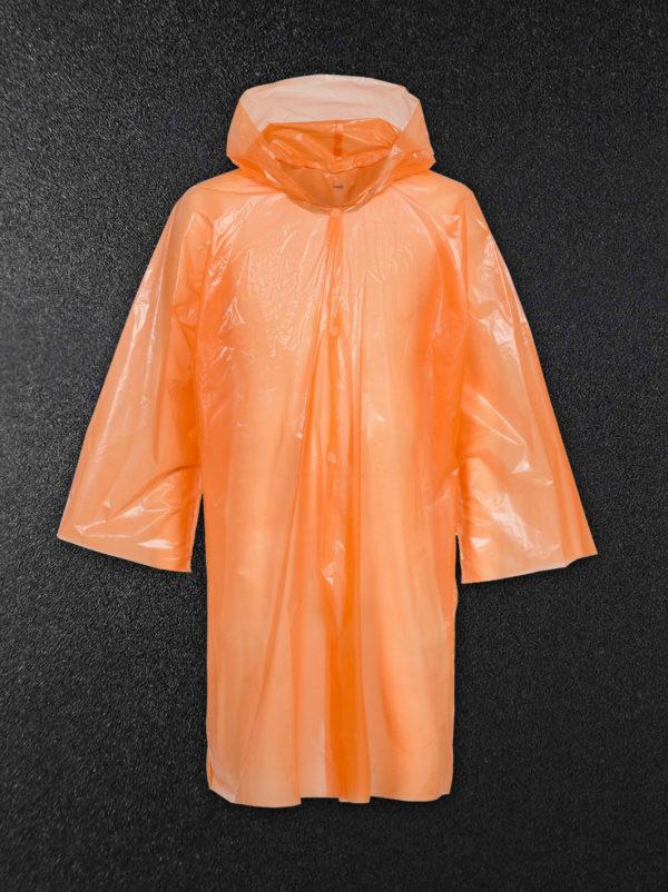 Дождевик-плащ полиэтиленовый оранжевый