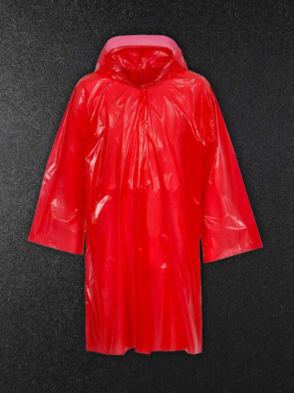 Дождевик-плащ полиэтиленовый красный
